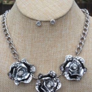 Three Beautiful Silver Roses Rhinestone Centers